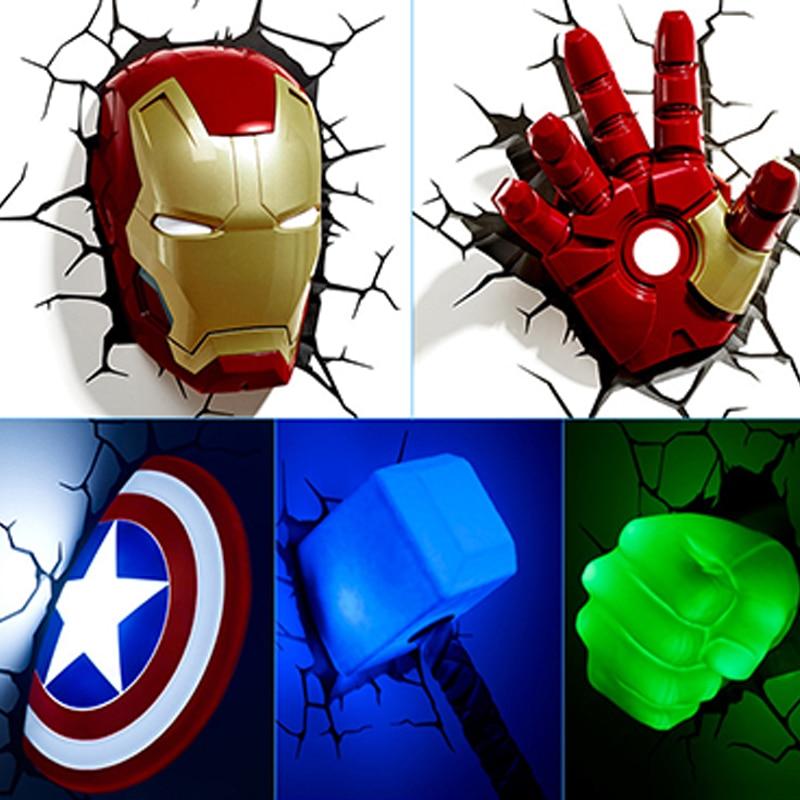 GUXEN avengers 3D Wandleuchte incroyables héros créatifs led veilleuse chambre salon avec 3 pièces de lumière de batterie AA