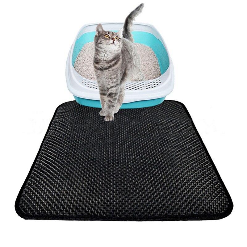 Urijk Black Gray Cat Litter Mat Eva Double-layer Cat Litter Trapper Mats Waterproof Bottom Layer Black Cat Bed Cat Supplies Mats