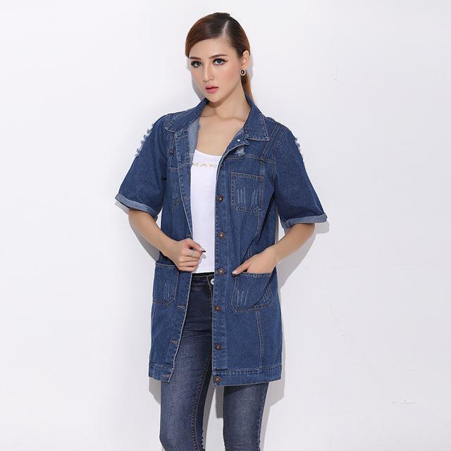 2015 Nova Moda primavera outono Alta qualidade das Mulheres Magro Denim Jackets Casacos Jeans Clássica Revestimentos do Revestimento do pó