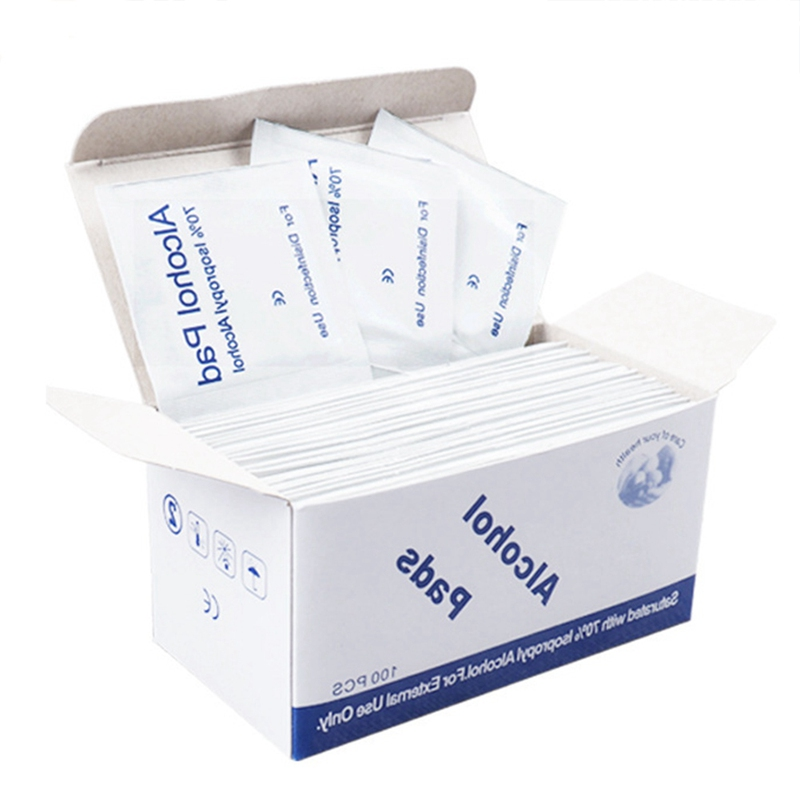 100pcs/Box Alcohol Pads Skin Cleanser Cleaning Sterilization  First Aid Home Makeup New Alcohol Swabs Pads Wipes