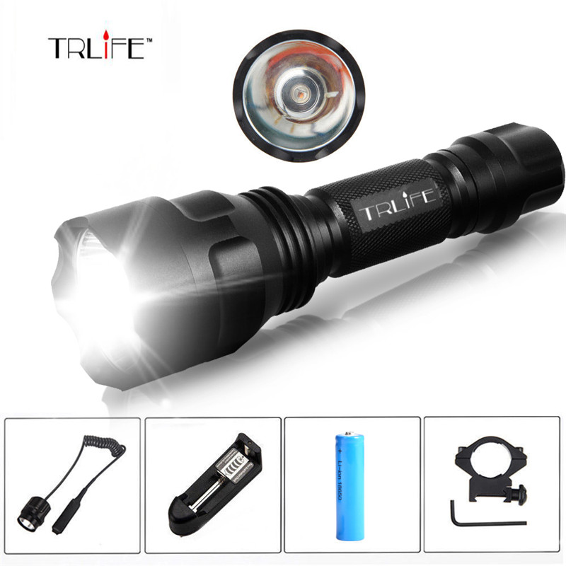 Linterna LED Flashlight T6/L2 8000LM Tactical Flashlight Aluminum Hunting Flash Light Torch Lamp +18650+Charger+Gun Mount 8000lumen l l2 led flashlight tactical flashlight torch lanterna aluminum hunting light torch lamp 18650 charger gun mount