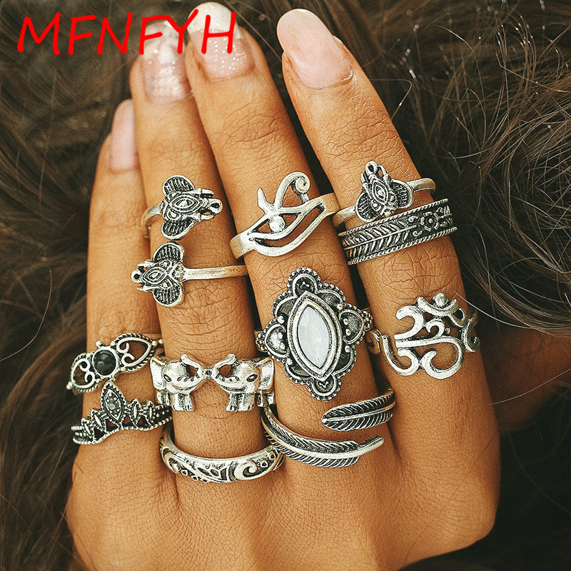 MFNFYH 11pcs/Set Bohemian Vintage Punk Elephant Leaf Finger Rings for Women Boho Antique Gold Color Knuckle Ring Set Jewelry