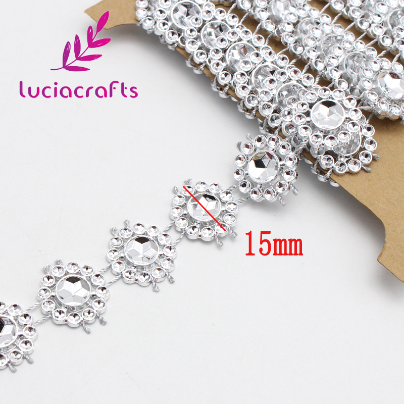 Image 2 - 2yards/lot 15mm Flower Diamond Bling Crystal Ribbon Wrap Trim DIY Home Wedding Cake Party Decorations Gold,Silver V0803-in Lace from Home & Garden