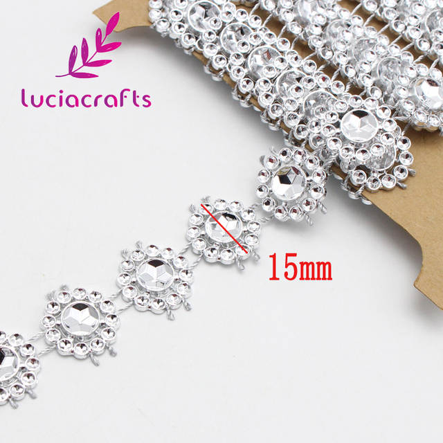 placeholder 2yards lot 15mm Flower Diamond Bling Crystal Ribbon Wrap Trim  DIY Home Wedding Cake Party c532f7a3ac59