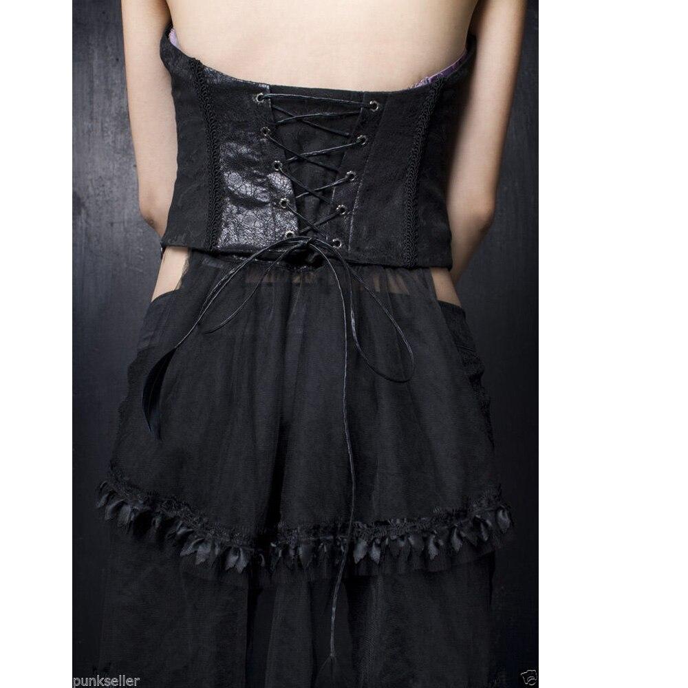 Punk Rave noir Sexy gilet gothique Vampire Rock femmes Bandage haut avec queue de dentelle Y304 - 6