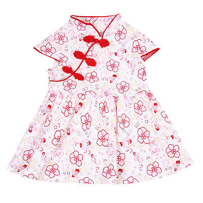 a65fe9344 0-4Y Toddler Baby Girls Kids Infant Summer Cotton Floral Chinese Cheongsam  Mini Dress Party Pageant Wedding Birthday Sundress