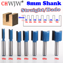 1PC 8mm Shank high quality Straight/Dado Router Bit Set 6,8,10,12,14,16,18,20mm Diameter Wood Cutting Tool - ChWJW