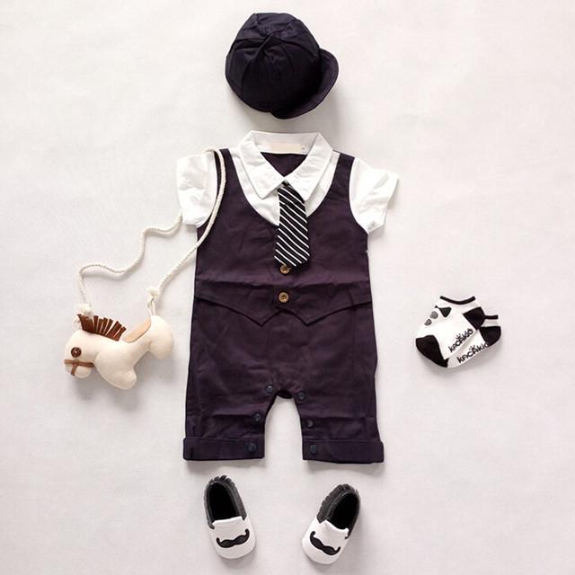 Verano Ropa de Recién Nacido Bebé Mameluco del Caballero Trajes De Bebé De Algodón Niño Niños Ropa Jumpsuit Formal Para El Banquete de Boda 2 unid