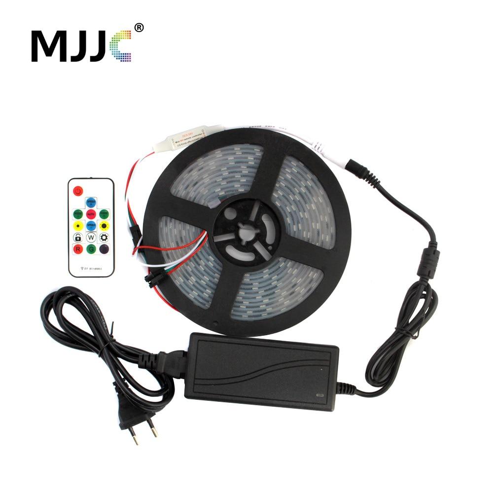 MJJC Addressable Pixel LED Strip Light Waterproof WS2811 5M SMD 5050 Stripe + RF Remote Controller +12V Power Supply Adapter Kit addressable 3d smart pixel ball dc24v