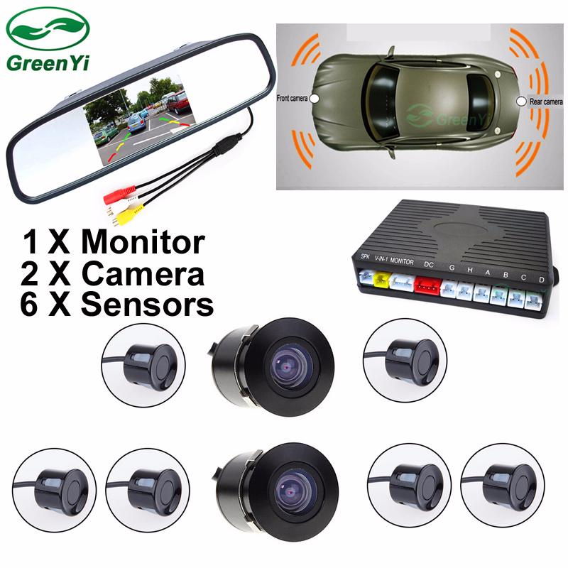 GreenYi 2018 New Dual Channel 4.3 Car Mirror Monitor with Front / Rear view Camera + 6 Sensor Video Parking Assist Radar System auto car parking 6 sensor with 8ir rear view camera front camera parktronic system reverse radar video 4 3inch hd mirror monitor