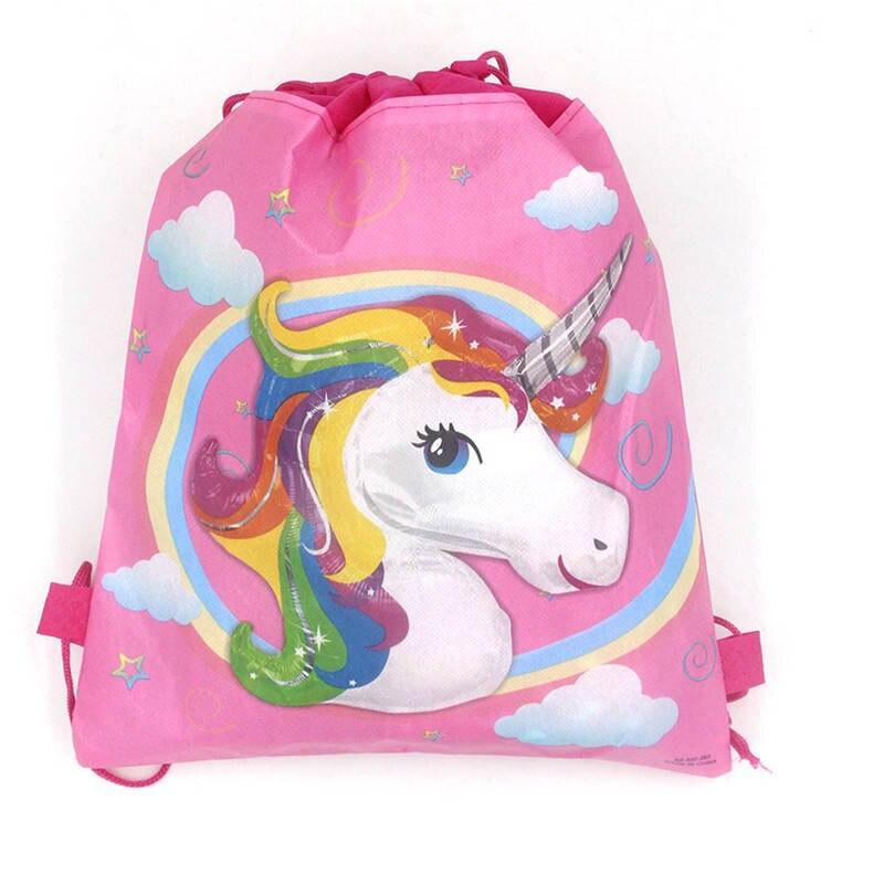 Unicorn Drawstring Bags for Girls Travel Storage Package Cartoon School Backpack