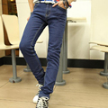 New Fashion Men Casual Jeans Slim Straight High Elasticity Feet Jeans Loose Waist Long Trousers Size: 28-36