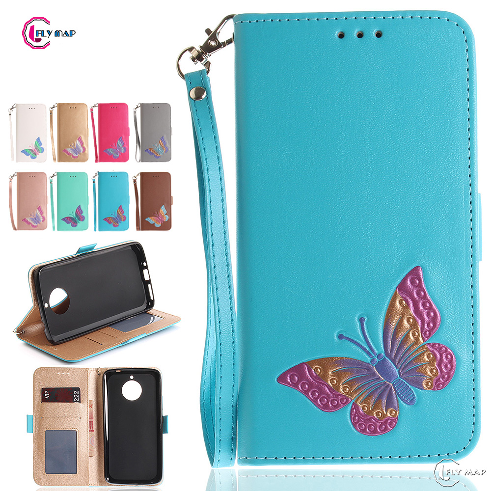 Butterfly Flip Case for Motorola Moto E4 Plus XT1771 Wallet Card slot Case Phone Leather ...