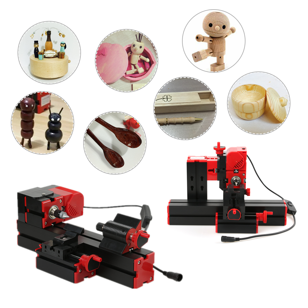 6 in 1 Machine Tool Kit Jigsaw Grinder Driller Plastic Metal Wood Lathe Drilling Sanding Turning Milling Sawing Machine Tool Kit 12000r min 60w all metal 8 in 1 mini lathe without bow arm milling drilling wood turning jag saw sanding machine