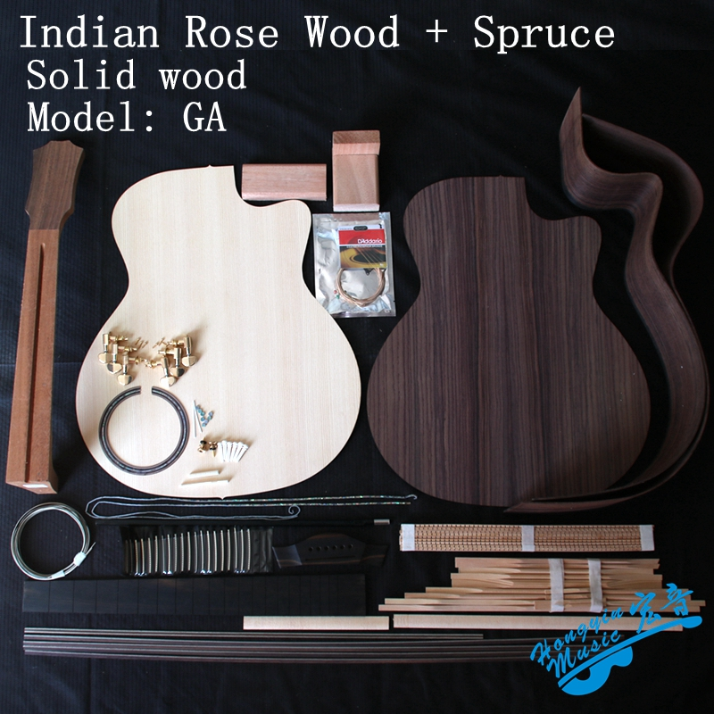 41inch GA Acoustic Guitar DIY Kit India Rosewood Back Side African Mahogany Neck Ebony Fingerboard Spruce