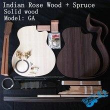 Guitarra acústica GA de 41 pulgadas, Kit de bricolaje, parte trasera de palisandro de la India, cuello de caoba africana, diapasón de ébano y tapa de abeto