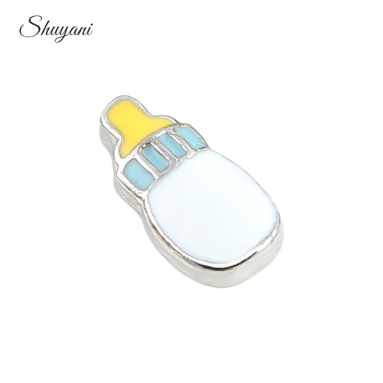 Wholesale 20pcs/lot New Arrival Kids Feeding Bottle Floating Locket Charms For Women Glass Lockets
