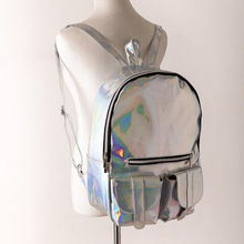 Cool Women's Rainbow Colorful Hologram Backpacks Laser Silver Color Holographic Mirror Mini Shoulder Bags for Girls
