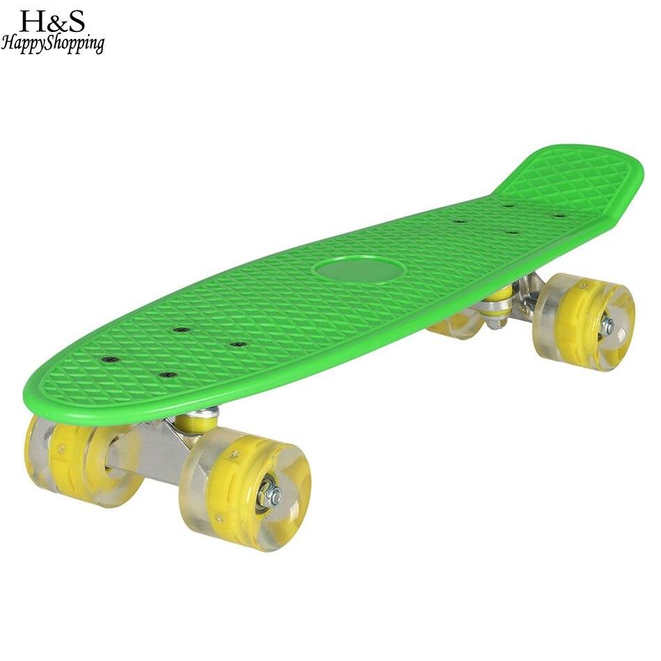 Ancheer 22 pouce Planche À Roulettes LED Clignotant Skate Board Complet Rétro Cruiser Longboard Planche À Roulettes Adulte Enfants