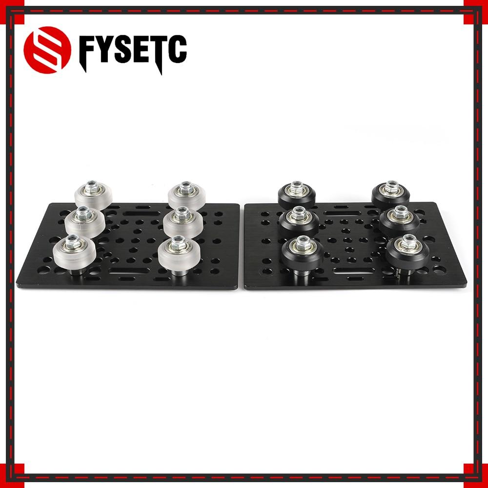 Aluminium V Slot Gantry Plate 20 80mm With 6pcs Black/Transparent V Slot Solid V Wheel Kit For Openbuilds CNC Machine Parts