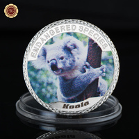 WR Dangerous Cute Animal Coin 999.9 Silver Plated Kaola Silver Coins Metal Crafts Home Decorative Souvenir Coins for Gifts
