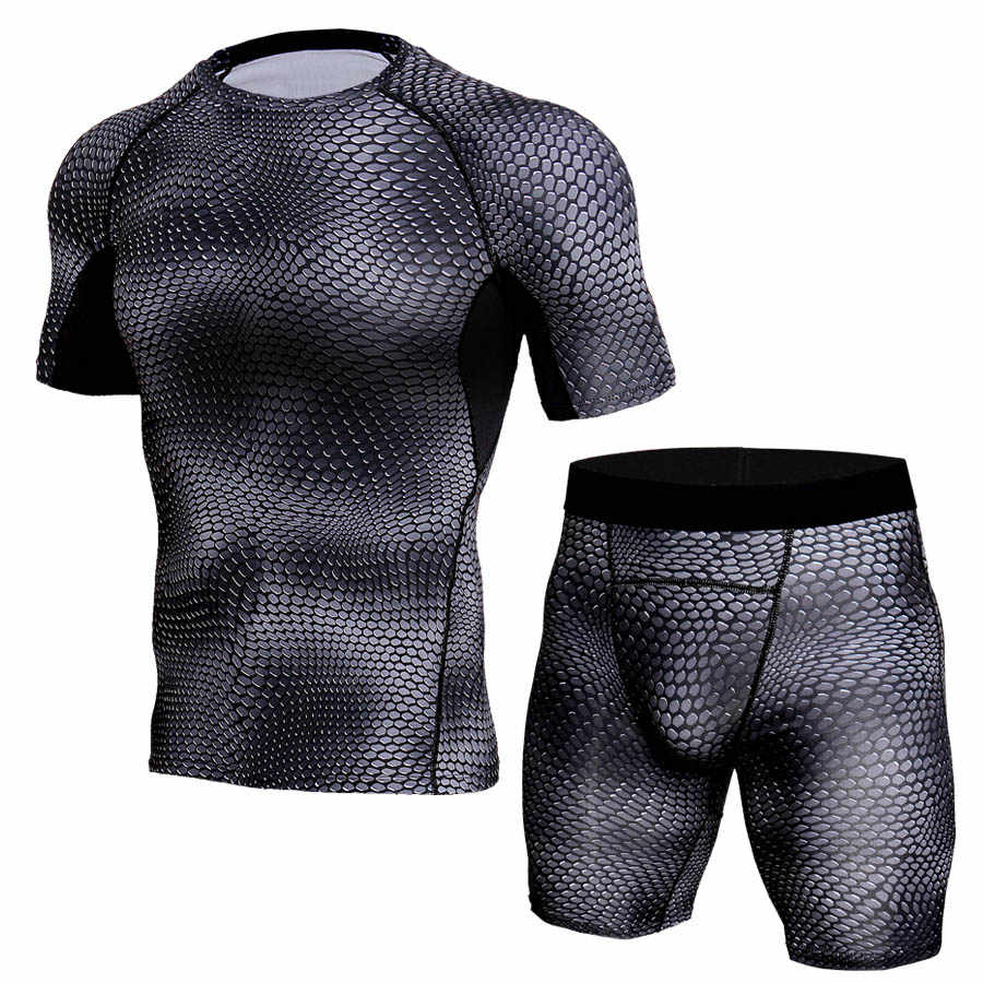 3D камуфляжные тренировочные костюмы для мужчин компрессионный костюм футболка с короткими рукавами Наборы для мужчин тренажеры фитнес Спортивная Одежда Бегунов дышащие колготки