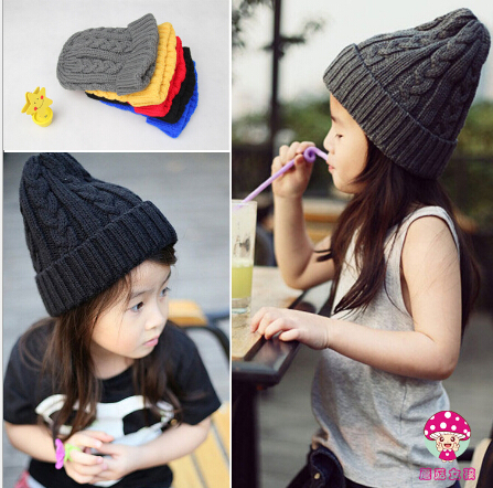 1pcs,Free shipping 2015 New autumn and winter tot solid color knitting wool hat boys girls Ski cap children skullies beanies the new children s cubs hat qiu dong with cartoon animals knitting wool cap and pile