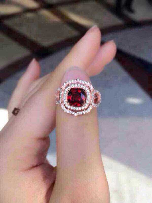 Natural red garnet stone Ring Natural gemstone Ring S925 sterling silver trendy Elegant big luxurious round