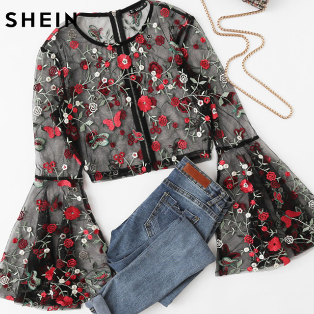 SHEIN Fluted Sleeve Botanical Sheer Mesh Crop Top Elegant Long Sleeves Women Blouses Autumn Black Embroidered Slim Sexy Blouse