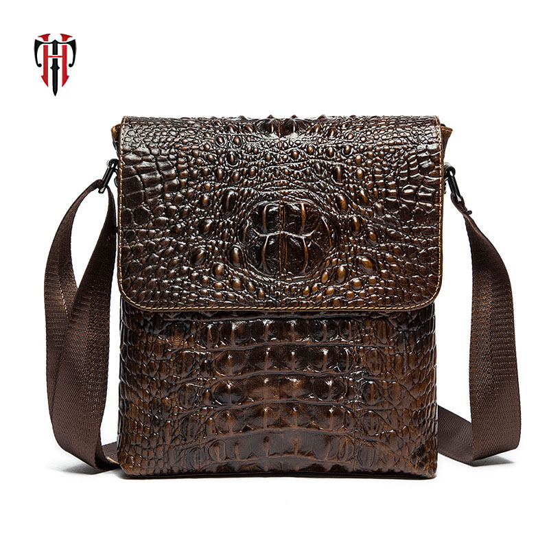TIANHOO genuine leather fashion man bags Crocodile pattern cowwide leather mens shoulder & crossbody messenger bags TIANHOO genuine leather fashion man bags Crocodile pattern cowwide leather mens shoulder & crossbody messenger bags