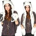 Faux Fur Capô Animais Abas de Orelha Chapéu Das Mulheres Dos Homens Bolsas de Mão 3 em 1 Lobo Chapéu de Pelúcia Tampão do Inverno Quente com Luvas Longo Cachecol luvas