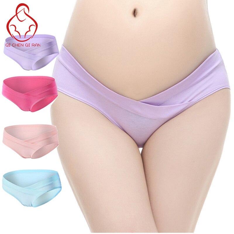 4 Teile / los U-förmigen Niedrigen Taille Mutterschaft Unterwäsche Mutterschaft Höschen Baumwolle Schwangere Frauen Unterwäsche Schwangerschaft Briefs Frauen Kleidung