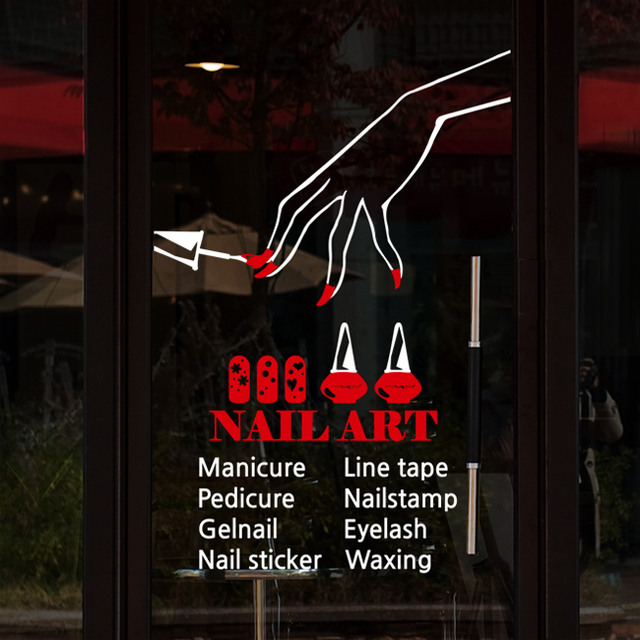 Nail Art Vinyl Wall Decal Polish Varnish ManicureWall Sticker Bar Salon Shop Sign