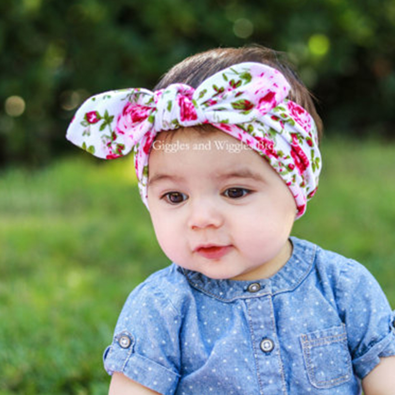 TWDVS Newborn Printing Flower Knot Elastic Hair band Kids Cotton Hair Accessories Elastic Bands Rabbit Ears Headband W196  twdvs flower girls bow knot headband girls flower head bands hair accessories 2017 hair bands style hot sell headwearw077