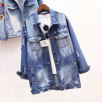 Spring Autumn Winter Fashion Boyfriend Women Jacket Long Cotton Denim Long SleeveTops Jeans Jacket Casual Clothing