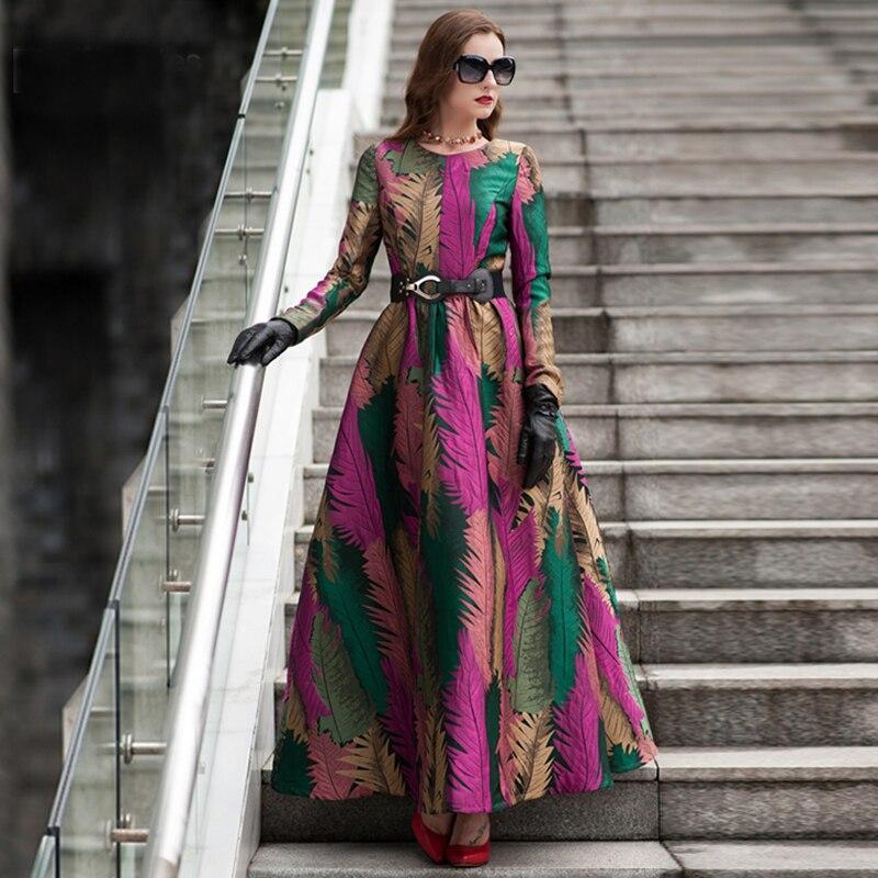 Большие размеры 2019, хорошее качество, весна, женское бохо, с длинными рукавами, модное платье, цветочный жаккард, новое осенне-зимнее Длинное...