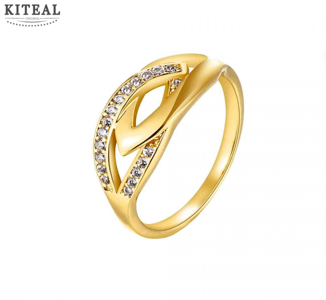 Best Friends Gold Color Engagement Ring Insets Pierced Leaves
