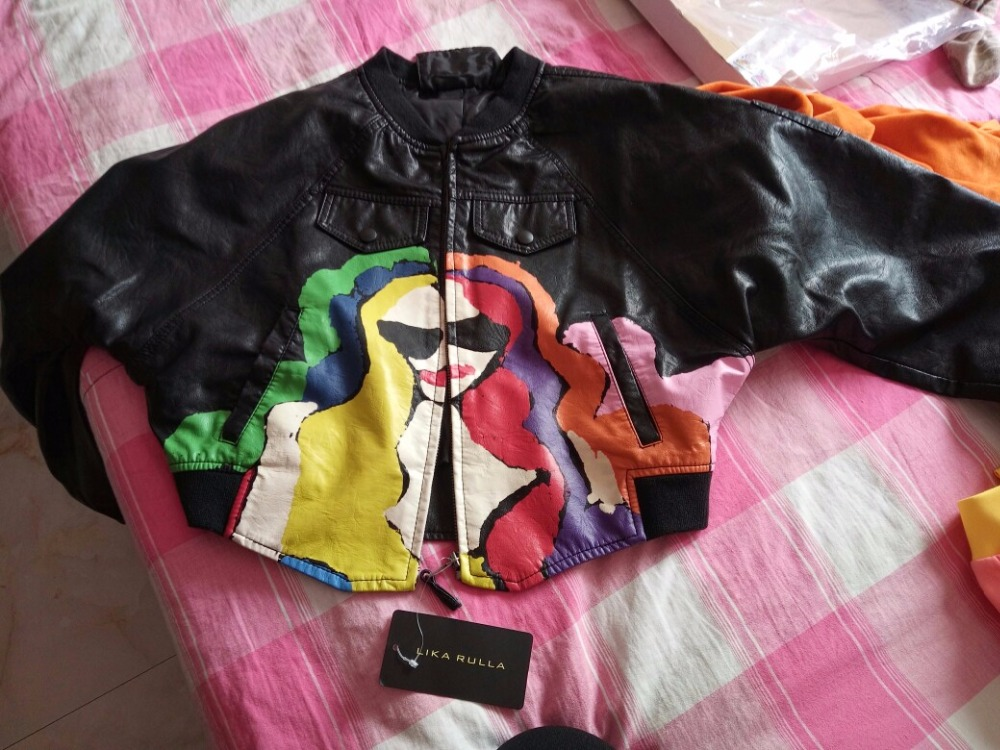 Colorful Punk Printing PU faux Leather short Jacket Hip-pop motorcyle Rock Coat zipper print Graffiti pocket bomber streetwear