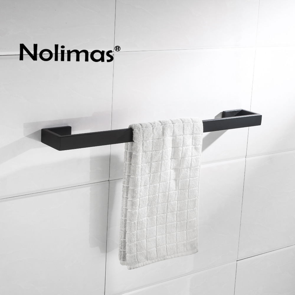SUS 304 Stainless Steel Black Single Towel Bar Black Square Towel Rack In The Bathroom Matte Wall Mounted Towel Holder