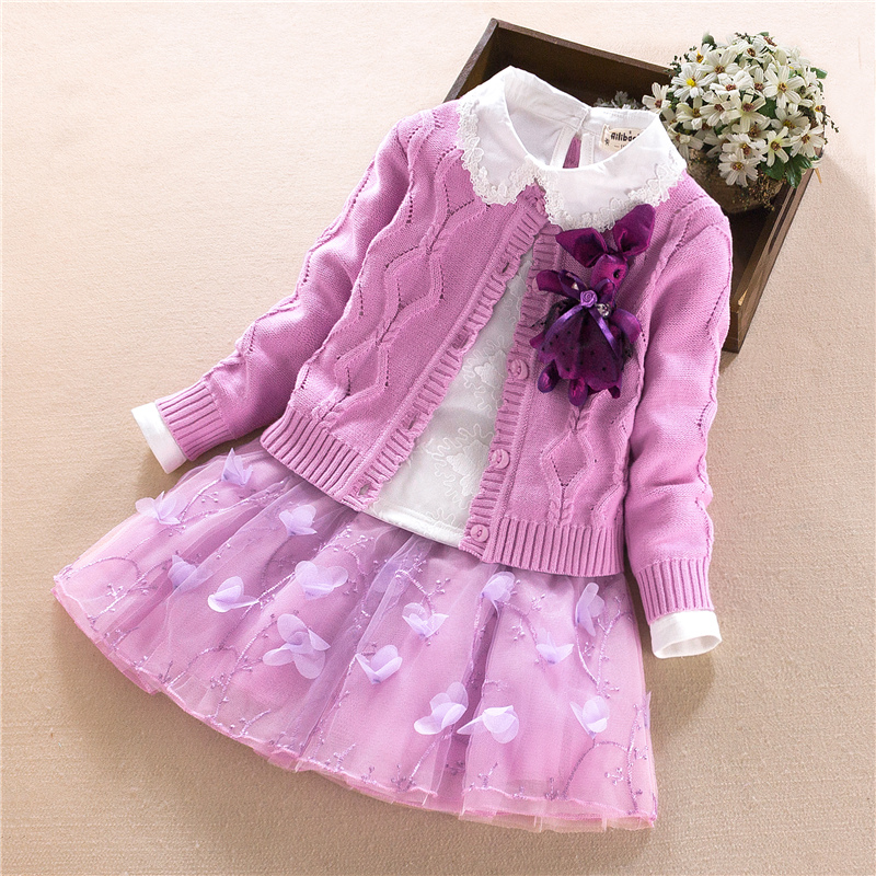 Baby Girls Clothes Sets Winter Kid princess Warm Suit Coat+T-shirt+skirt 3pcs girls costume Outerwear Children Clothing set 2-6Y princess skirt pet dog clothes tee costume