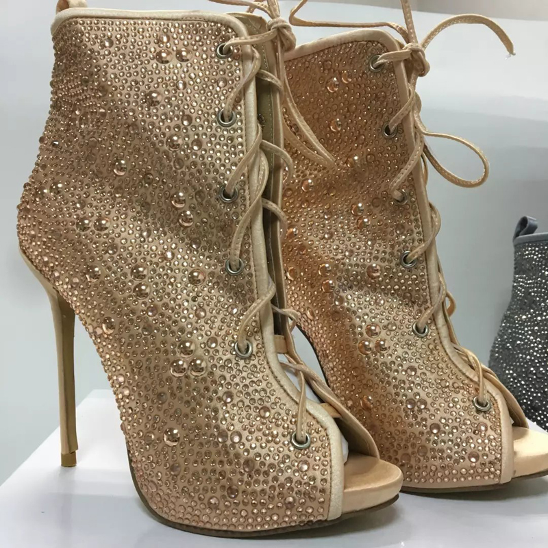 Spring Autumn Women Boots Hot Drilling Decorated Ankle Boots Open Toe High Heels Shoes for Woman Lace-up Short Botas Mujer st decorated up