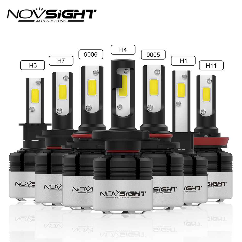 NOVSIGHT 72W 9000LM H4 Hi Lo Beam Car LED Headlight Bulbs H7 H11 H1 H3 9005 9006 LED Automobile Headlamp Fog Light 6500K 12V 24V