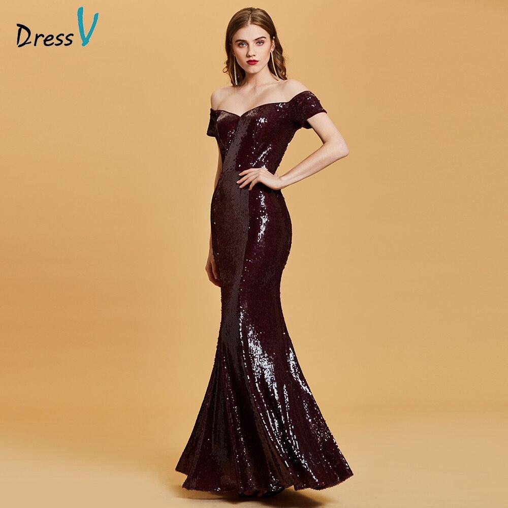 Dressv burgundy   evening     dress   cheap off the shoulder sequins mermaid wedding party formal   dress   trumpet   evening     dresses