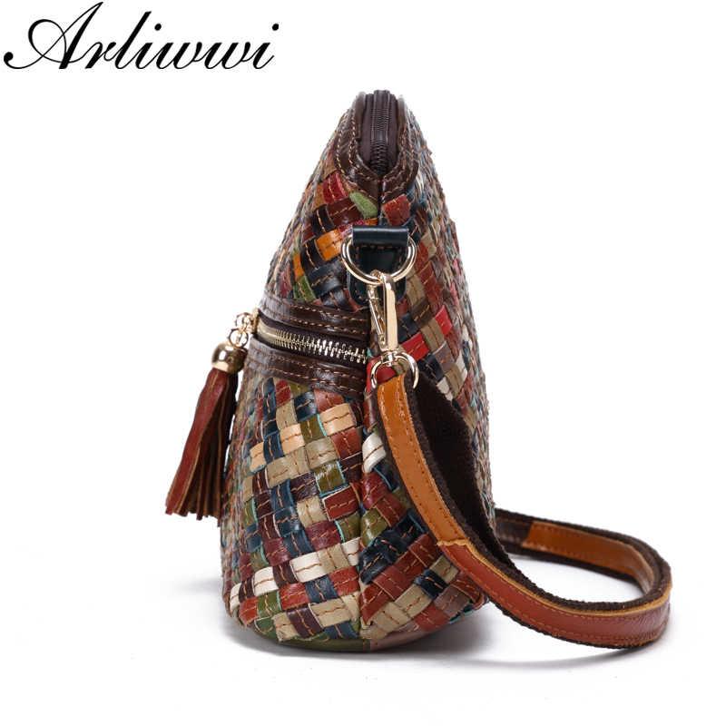 f84fa6a3b3f9 ... Arliwwi бренд для женщин дизайнер ручной работы лоскутное сумки через  плечо Feminina Bolsas пояса из натуральной ...