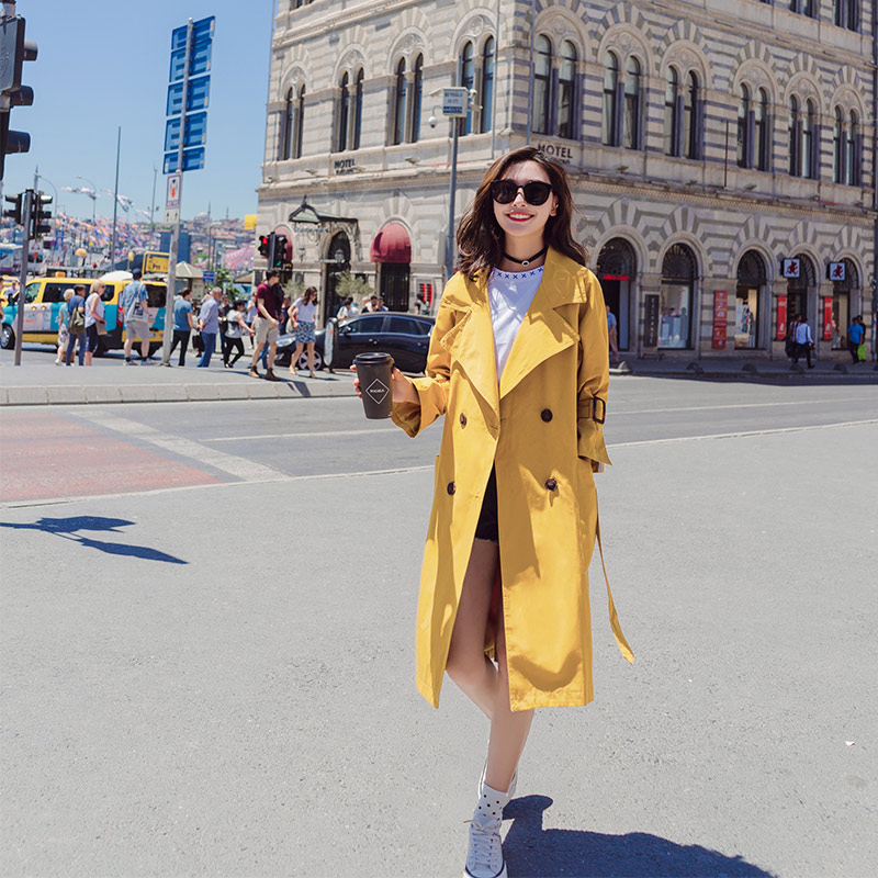 2018 Women Medium Long Solid   Trench   With Belt Female Double Breasted Loose Yellow Coat Full Sleeve Turn-down Collar Streetwear