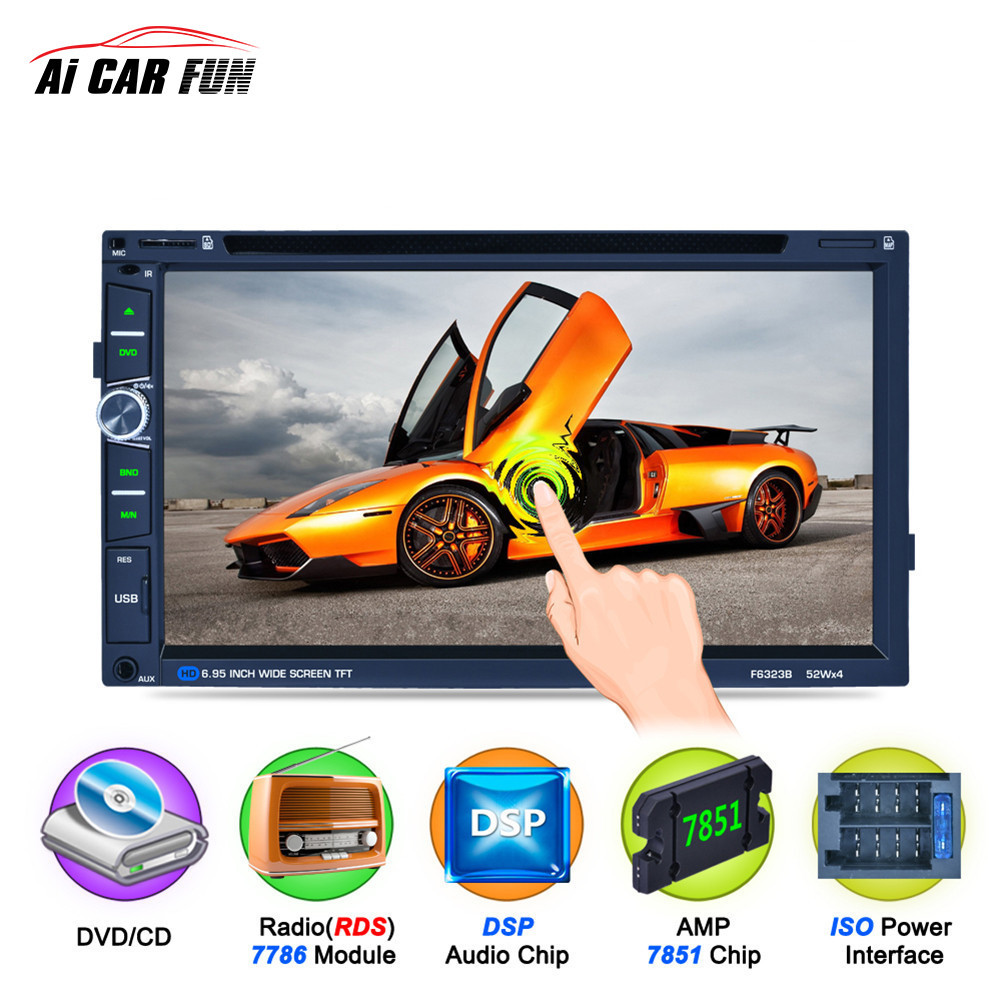 7 inch 2Din Car DVD Player Bluetooth F6323B HD Touch LCD Screen 7 Color Backlight Support ISO Steering Wheel Control MP5 player support front rear camera 6 8 inch 2 din car dvd mp5 player bluetooth usb am fm universal touch screen steering wheel control