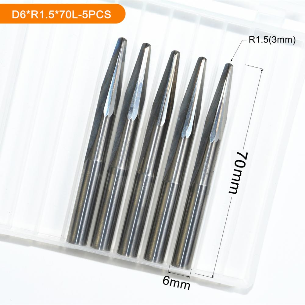 6mm*R1.5*70L,5pcs,Taper Ball nose End Mill,CNC milling Cutter,Solid carbide tool,woodworking router bit,spherical cone