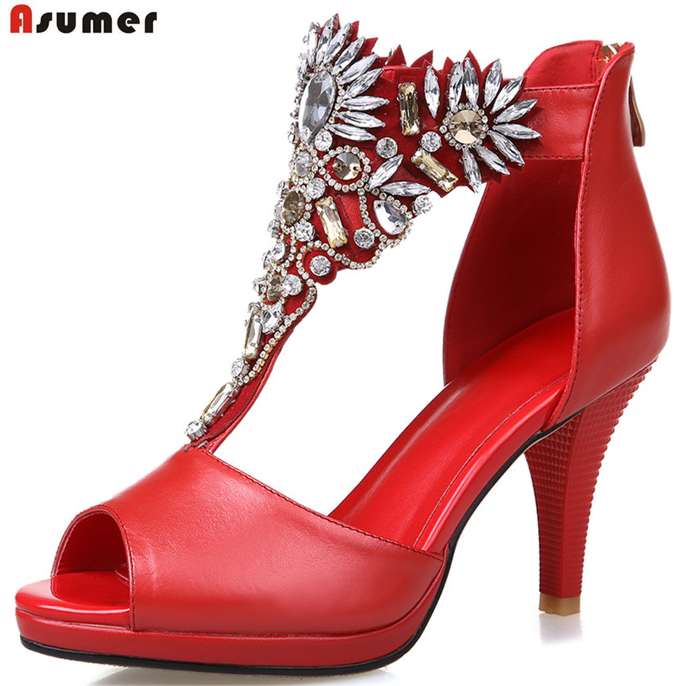 ASUMER red white fashion summer ladies shoes peep toe sexy wedding shoes crystal woman genuine leather high heels sandals bigtree summer fashion women high heels sandals suede shallow mouth pointed pearl ladies sandals sexy wedding red woman shoes