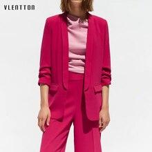 2019 Long Blazer Women Solid Shawl Collar Pockets Office Blazers Female Outwear Tops Roll sleeve Women's Jacket And Blazer Coat