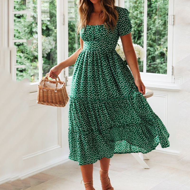 Vestidos Vintage Vintage Print Puff Sleeve Summer Beach Sweet Dresses Casual Square Collar Floral Maxi Long Dress 2019 Festa
